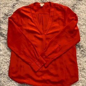 NWOT J. Crew Red Long-Sleeve Top
